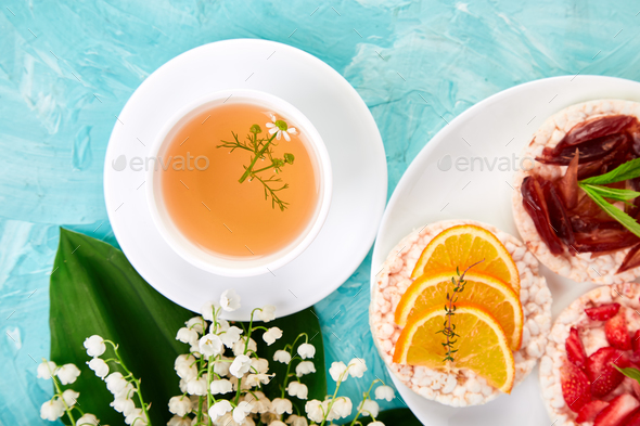 Breakfast tea, rice crispbread - Stock Photo - Images