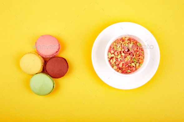 Sweet Dessert Macaron or macaroon - Stock Photo - Images