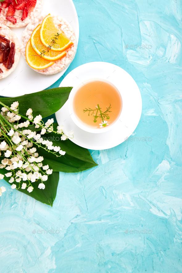 Breakfast tea, rice crispbread - Stock Photo - Images
