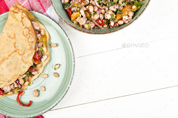 Buckwheat Pancake. Mexican Quesadilla. - Stock Photo - Images