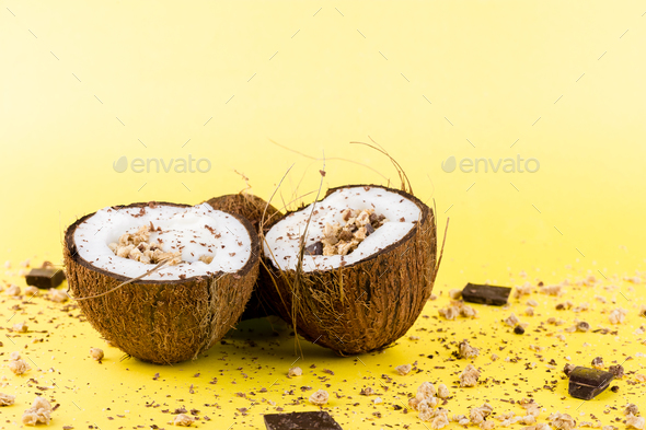 Granola with chocolate  in coconut - Stock Photo - Images