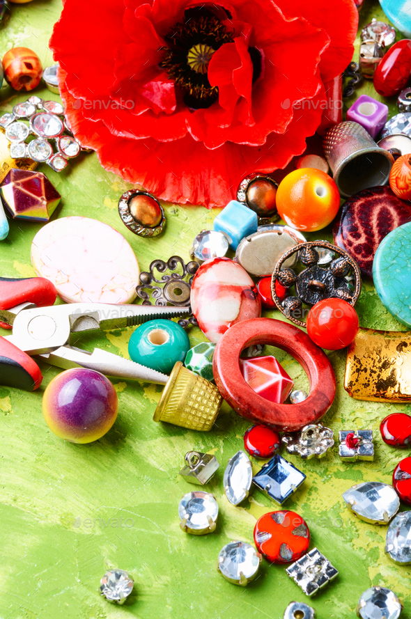 Beads and poppy - Stock Photo - Images