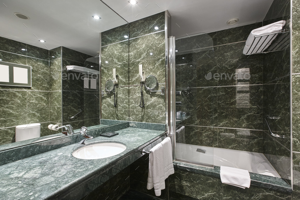 Luxury bathroom in green marble. Decoraton hotel home interior. Horizontal  - Stock Photo - Images