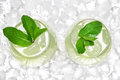 Refreshing drink with mint and ice cubes in large wine glasses - PhotoDune Item for Sale