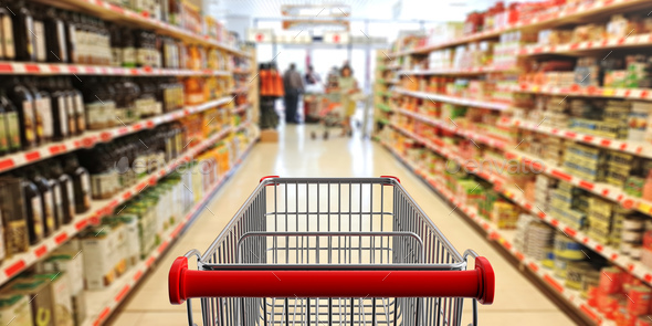 Shopping trolley, empty, with red handle on blur supermarket aisle background. 3d illustration - Stock Photo - Images