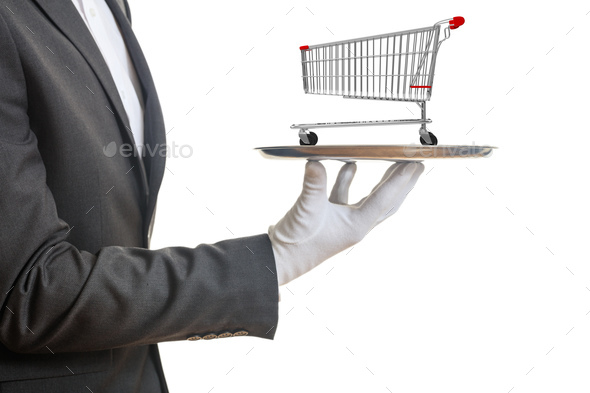 Waiter holding a silver platter with an empty shopping trolley, on white background. 3d illustration - Stock Photo - Images