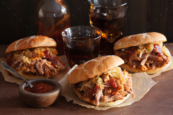 homemade pulled pork burger with caramelized onion and bbq sauce - Stock Photo - Images