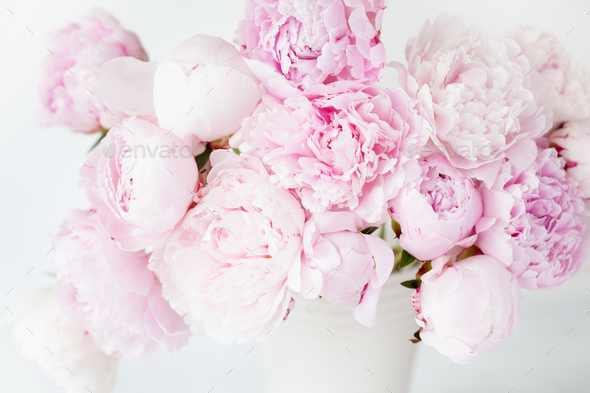 beautiful pink peony flowers bouquet in vase - Stock Photo - Images & beautiful pink peony flowers bouquet in vase Stock Photo by duskbabe