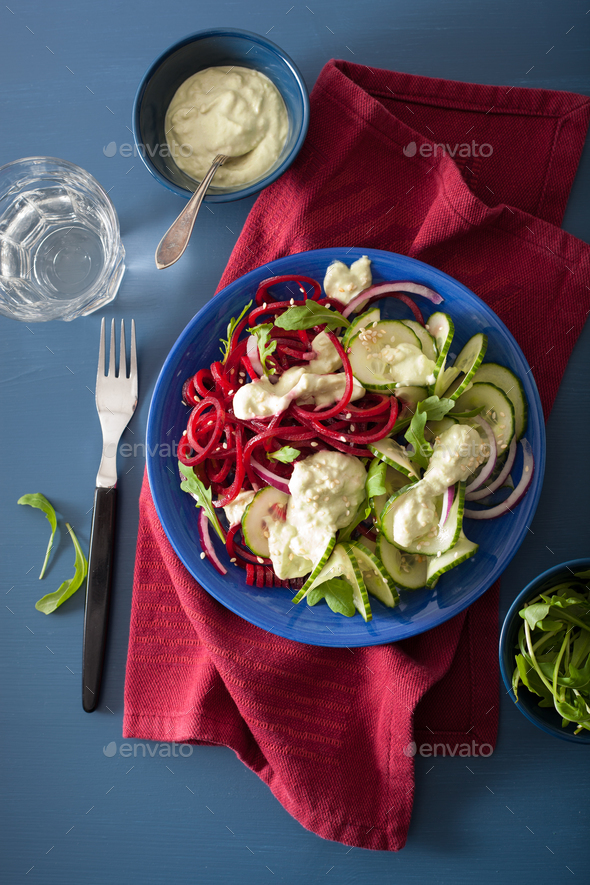 spiralized beet and cucumber salad with avocado dressing, health - Stock Photo - Images