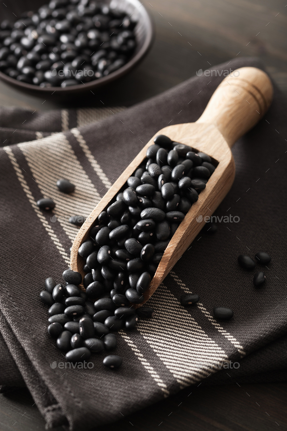 black turtle beans legumes in scoop - Stock Photo - Images