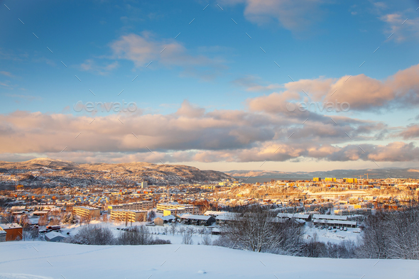 Winter view of snowy Trondheim city Norway from Steinan - Stock Photo - Images