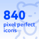 840 Pixel Perfect Icons - GraphicRiver Item for Sale