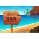 Summer Background with Wooden Signboard to Bar
