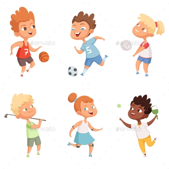 Children Outdoors in Action Sports Activity - People Characters