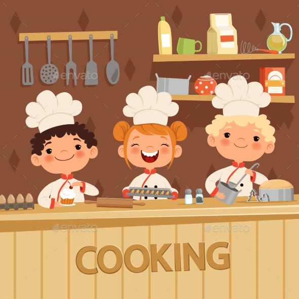 Background Illustrations of Kids Preparing Food - People Characters