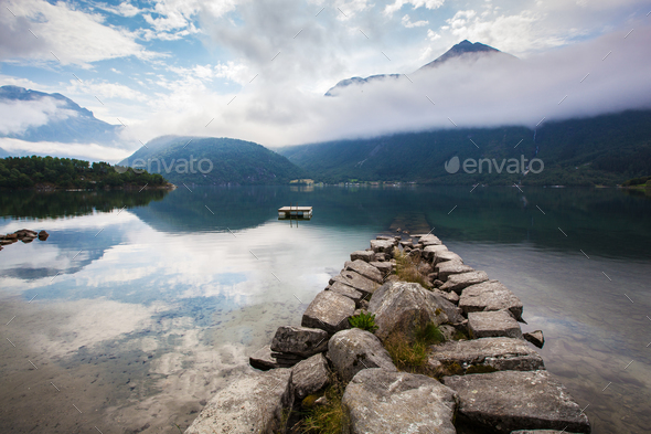 beautyful fjord landscape, Norway - Stock Photo - Images