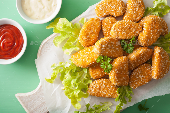 vegan soy nuggets healthy meal - Stock Photo - Images