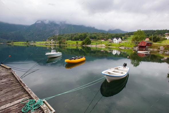 beautyful landscape lake and boat, Norway - Stock Photo - Images