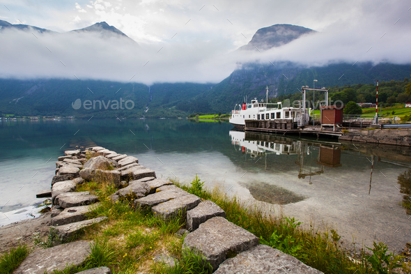 beautyful landscape lake and boat, Norway - Stock Photo - Images