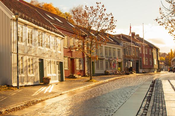 Trondheim street in autumn, Norway - Stock Photo - Images