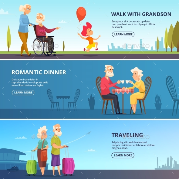 Horizontal Banners Set with Elderly Couples - People Characters