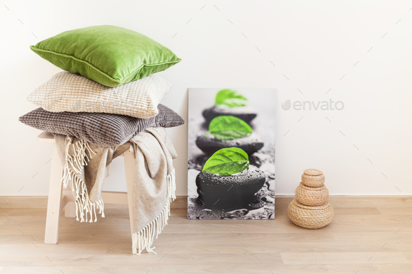 gray and green cushions cozy home interior - Stock Photo - Images