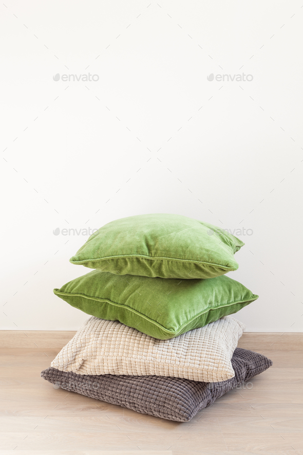 gray and green cushions cozy home - Stock Photo - Images