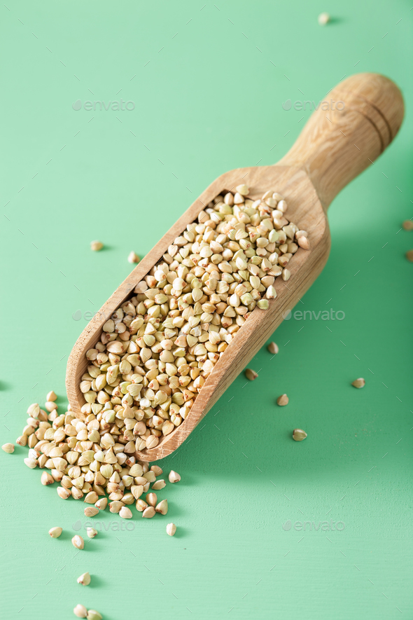 raw green buckwheat healthy ingredient - Stock Photo - Images