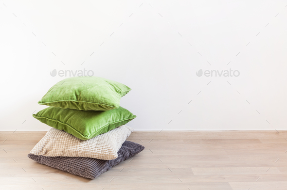 gray and green cushions, cozy home - Stock Photo - Images