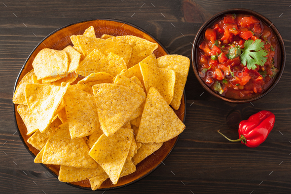 mexican salsa dip and nachos tortilla chips - Stock Photo - Images