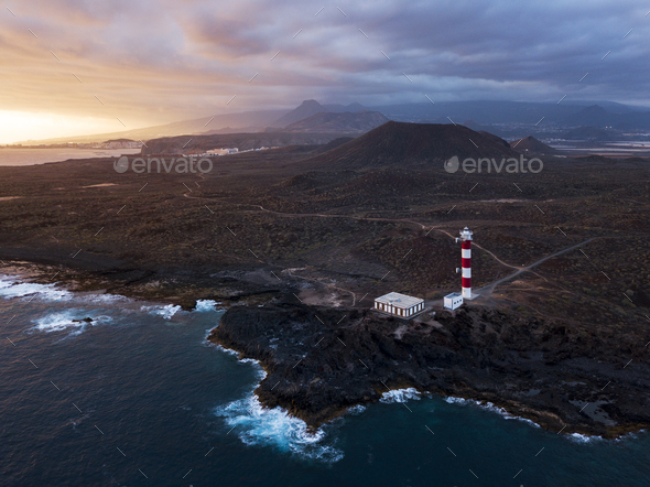 Lighthouse Faro de Rasca on The Tenerife, Canary Islands, Spain. - Stock Photo - Images