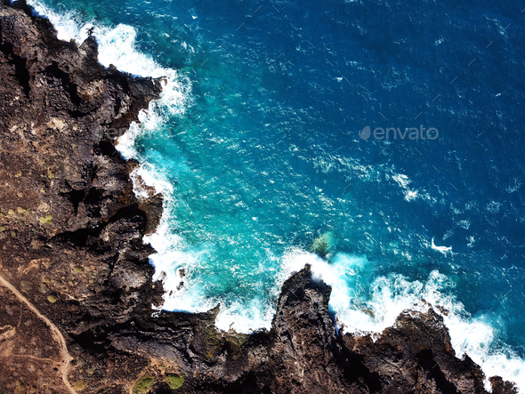 Top view of a deserted coast. Rocky shore of the island of Tener - Stock Photo - Images