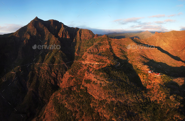 Aerial view of mountain road to Masca village on Tenerife, Canar - Stock Photo - Images