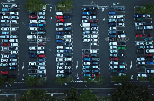 Aerial view of car parking - Stock Photo - Images