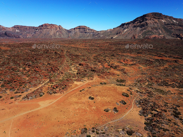 Aerial view of Teide National Park on Tenerife, Spain - Stock Photo - Images