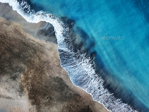 Top view of a deserted beach. Coast of the island of Tenerife. A - Stock Photo - Images