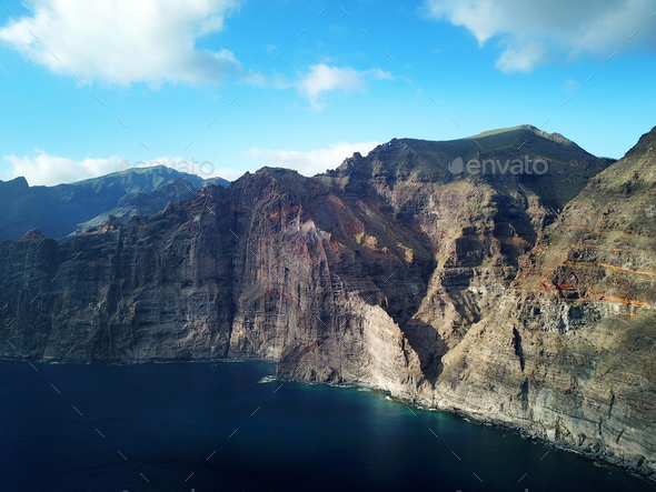 Los Gigantes Cliffs on Tenerife, Aerial View - Stock Photo - Images
