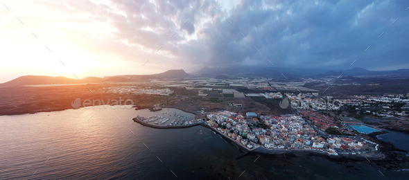View from the height of the city on the Atlantic coast. Tenerife - Stock Photo - Images