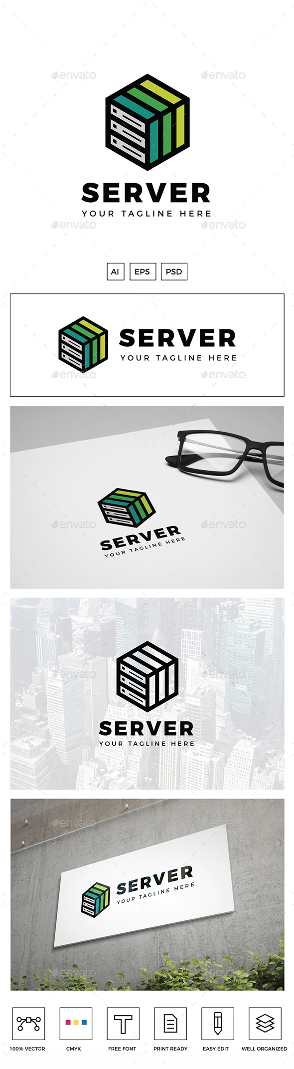 Green Server Logo - Objects Logo Templates