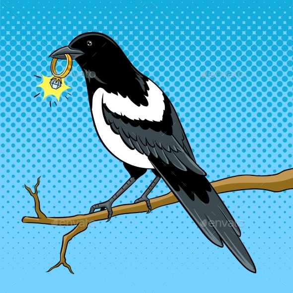 Magpie Bird with Golden Ring Pop Art Vector - Animals Characters