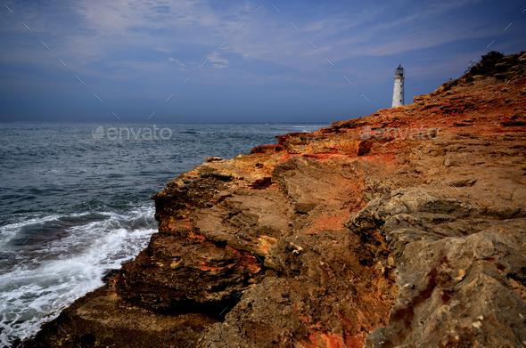 Lighthouse at cape Tarkhankut in Crimea Ukraine - Stock Photo - Images