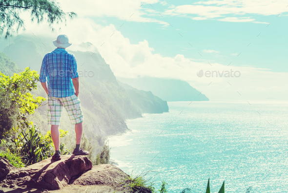 Hike in Na Pali - Stock Photo - Images