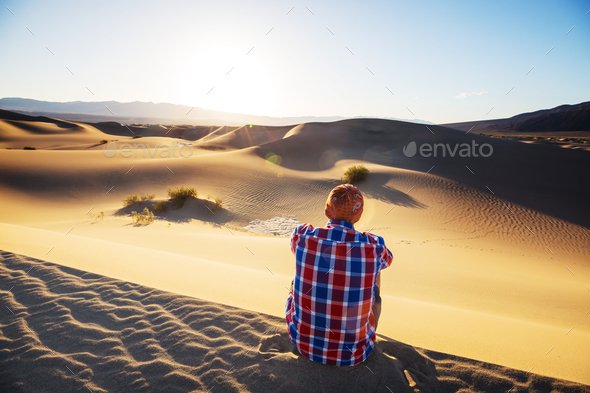 Hike in sand desert - Stock Photo - Images