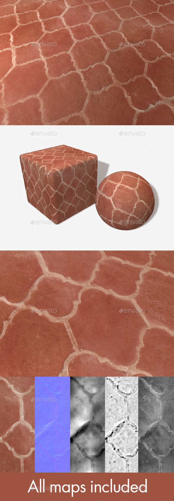Red Terracotta Floor Tiles Seamless Texture - 3DOcean Item for Sale