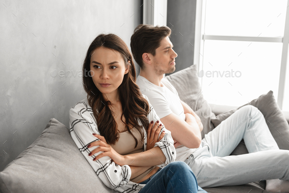 Photo of resentful guy and girl acting like arguing couple and n - Stock Photo - Images
