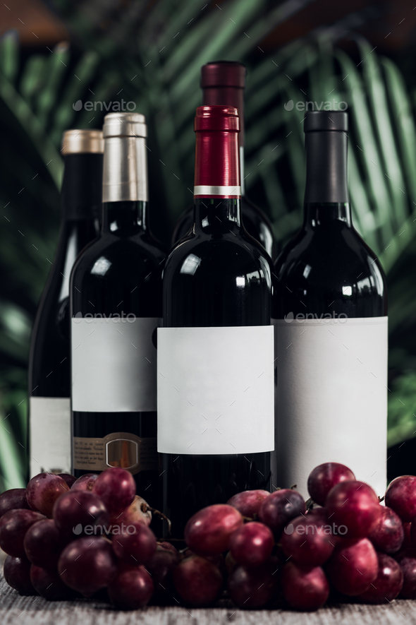 Bottles Of Red Wine And Grapes - Stock Photo - Images