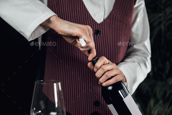 Opening Wine Bottle With Corkscrew - Stock Photo - Images