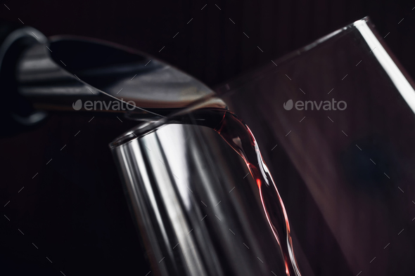 Red Wine Pouring Into Wine Glass - Stock Photo - Images
