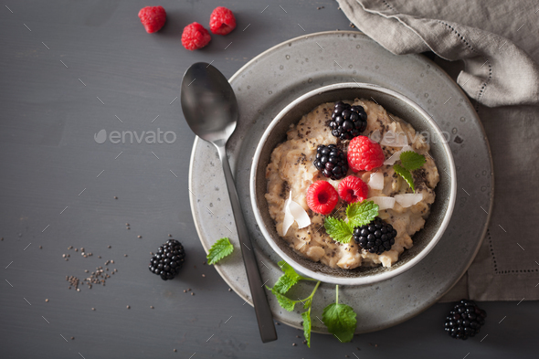 healthy breakfast oatmeal porridge with raspberry blackberry - Stock Photo - Images