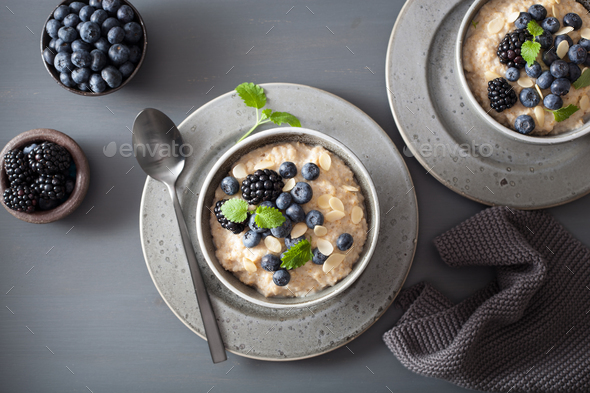 healthy breakfast steel cut oatmeal porridge with blueberry blac - Stock Photo - Images